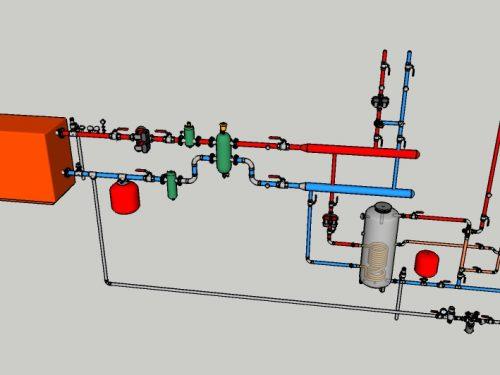 06 – CT con caldaia tradizionale e produzione ACS ad accumulo.