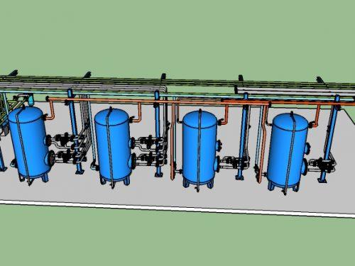 Stazione di accumulo bollitori e adduzioni idriche.